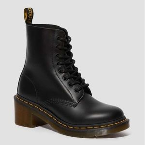 DR MARTENS CLEMENCY LEATHER HEELED LACE UP BOOTS 8